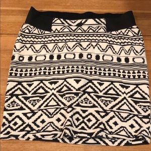 Black and white tribal skirt